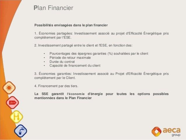 Plan Financier Possibilités envisagées dans le plan financier 1. Économies partagées: Investissement associé au projet d'E...
