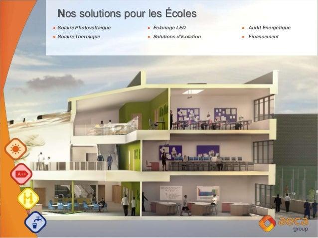 Nos solutions pour les Écoles Solaire Photovoltaïque Éclairage LED Audit Énergétique Solaire Thermique Solutions d'Isolati...