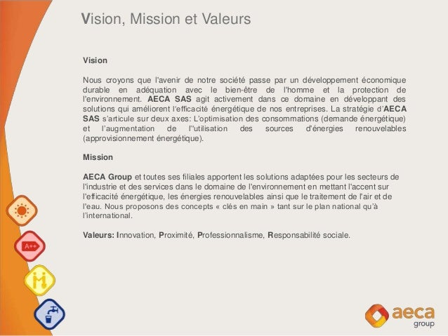 Vision, Mission et Valeurs Vision Nous croyons que l'avenir de notre société passe par un développement économique durable...