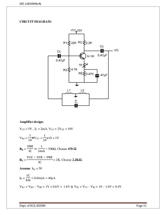 aec manual for iii sem ece students vtu kssem page 30 38 aec lab manual circuit diagram amplifier