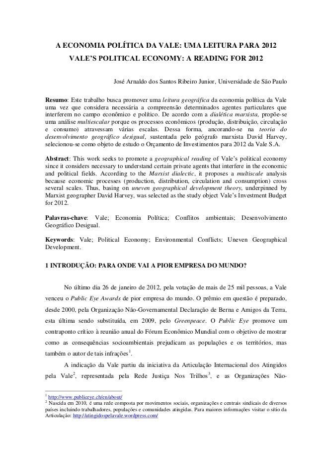 A ECONOMIA POLÍTICA DA VALE: UMA LEITURA PARA 2012  VALE'S POLITICAL ECONOMY: A READING FOR 2012  José Arnaldo dos Santos ...