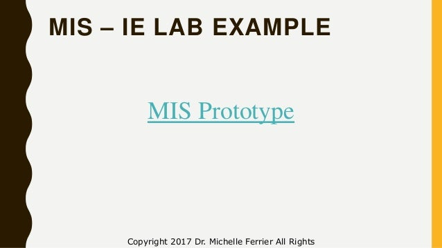 MIS – IE LAB EXAMPLE Copyright 2017 Dr. Michelle Ferrier All Rights MIS Prototype