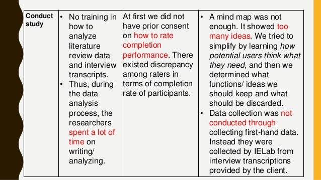 Conduct study • No training in how to analyze literature review data and interview transcripts. • Thus, during the data an...