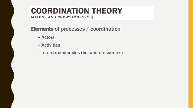 Elements of processes / coordination – Actors – Activities – Interdependencies (between resources) COORDINATION THEORY MAL...