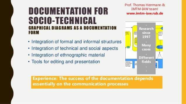 DOCUMENTATION FOR SOCIO-TECHNICAL GRAPHICAL DIAGRAMS AS A DOCUMENTATION FORM • Integration of formal and informal structur...