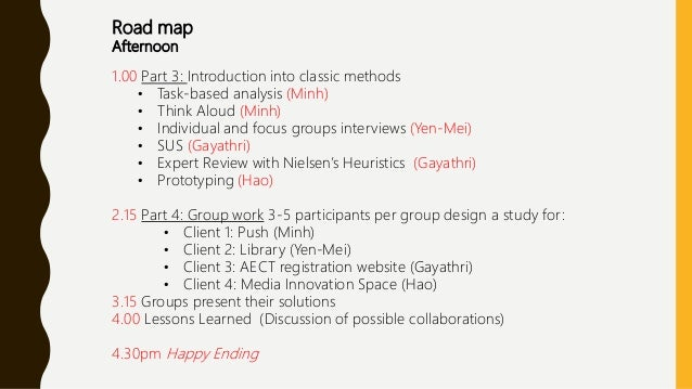 Road map Afternoon 1.00 Part 3: Introduction into classic methods • Task-based analysis (Minh) • Think Aloud (Minh) • Indi...