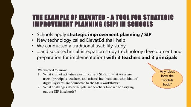 THE EXAMPLE OF ELEVATED - A TOOL FOR STRATEGIC IMPROVEMENT PLANNING (SIP) IN SCHOOLS • Schools apply strategic improvement...