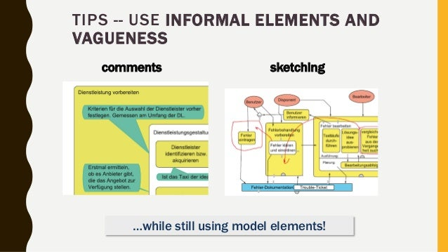comments sketching TIPS -- USE INFORMAL ELEMENTS AND VAGUENESS …while still using model elements!