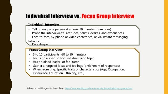 Individual Interview • Talk to only one person at a time (30 minutes to an hour) • Probe the interviewee's attitudes, beli...