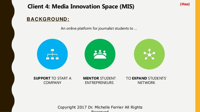 BACKGROUND: Copyright 2017 Dr. Michelle Ferrier All Rights SUPPORT TO START A COMPANY MENTOR STUDENT ENTREPRENEURS TO EXPA...