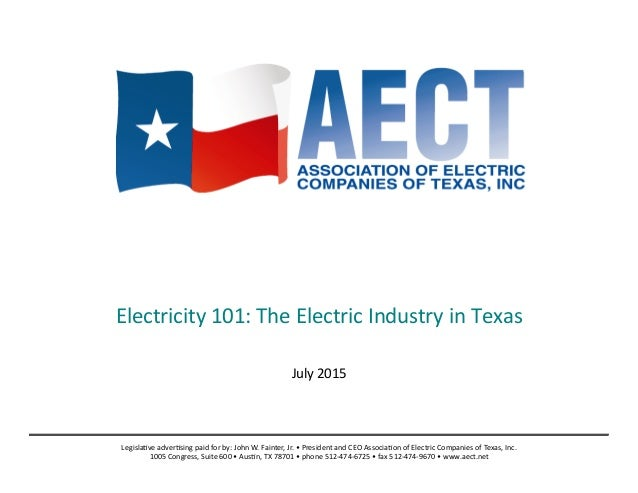 Electricity	   101:	   The	   Electric	   Industry	   in	   Texas	    	    July	   2015	    Legisla;ve	   adver;sing	   ...