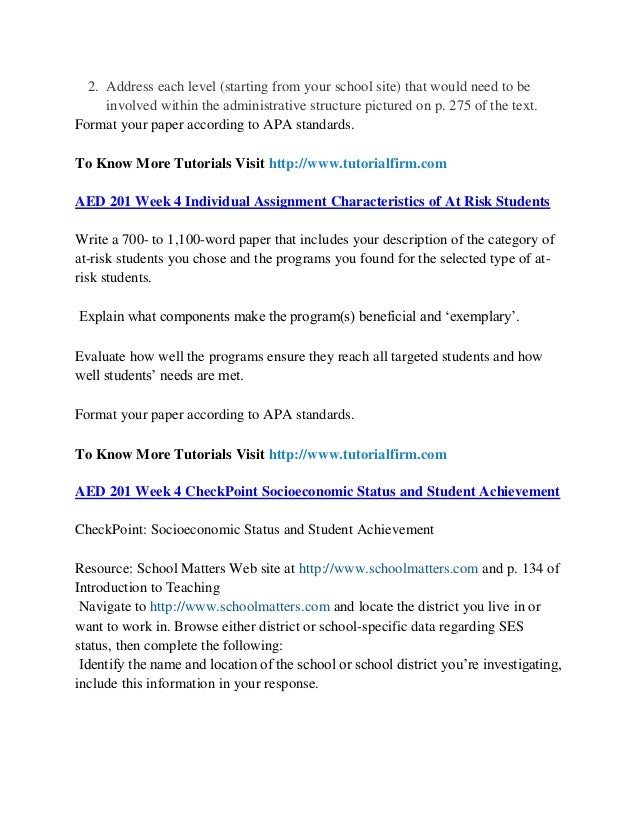 Aed 201 assignment characteristics