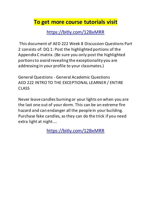 To get more course tutorials visit  https://bitly.com/12BxMRR  This document of AED 222 Week 8 Discussion Questions Part  ...