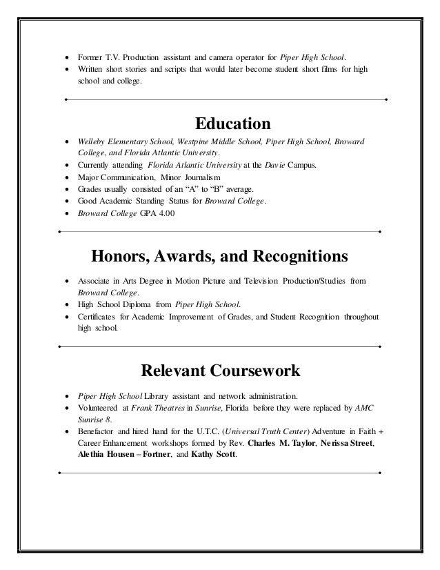 education high school resume