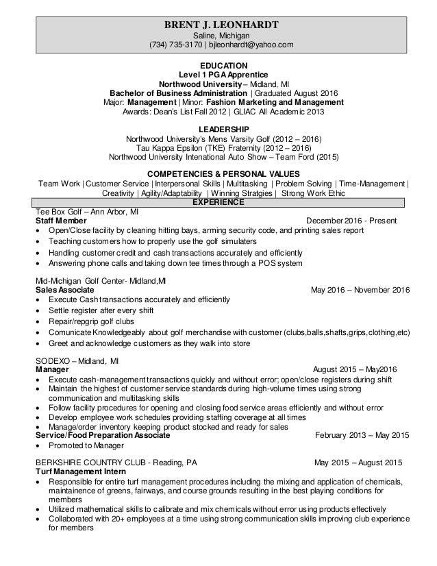 golf resume