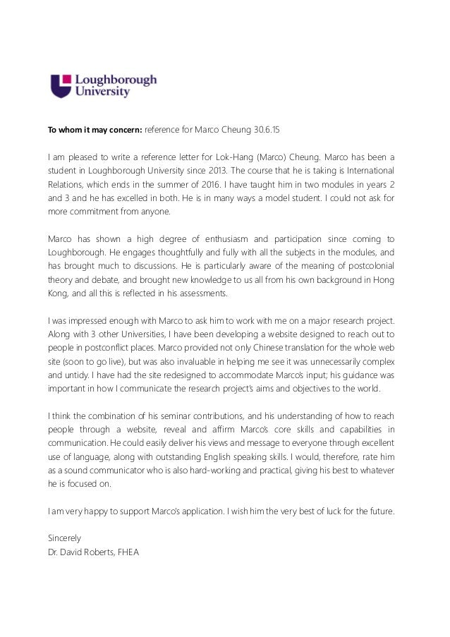 Reference letter to whom it may concern reference for marco cheung 30615 i am pleased expocarfo Images