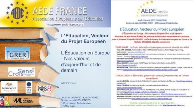 L'Éducation, Vecteur du Projet Européen L'Éducation en Europe - Nos valeurs d'aujourd'hui et de demain AEDE France Jeudi 2...