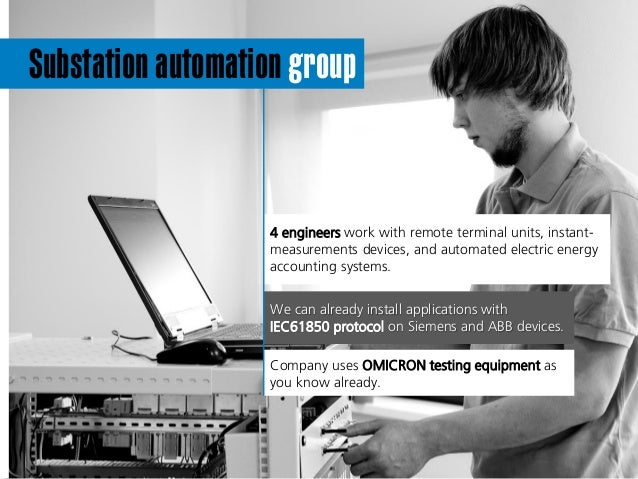 Substation automation group c 4 engineers work with remote terminal units, instant- measurements devices, and automated el...
