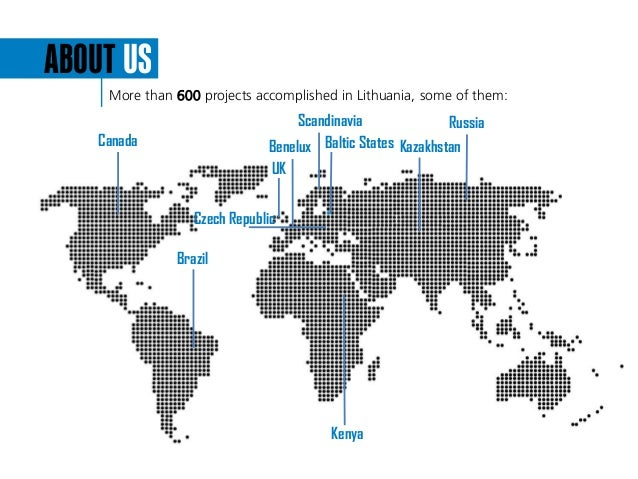 ABOUT US More than 600 projects accomplished in Lithuania, some of them: Scandinavia Russia UK Kenya Brazil Benelux Baltic...
