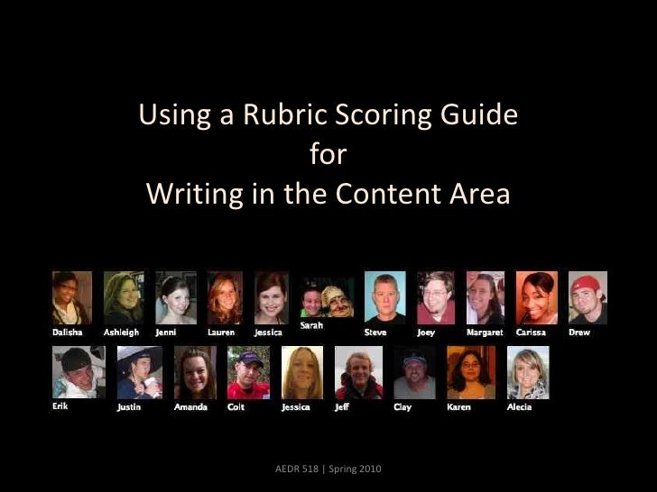 Using a Rubric Scoring GuideforWriting in the Content Area<br />AEDR 518 | Spring 2010<br />