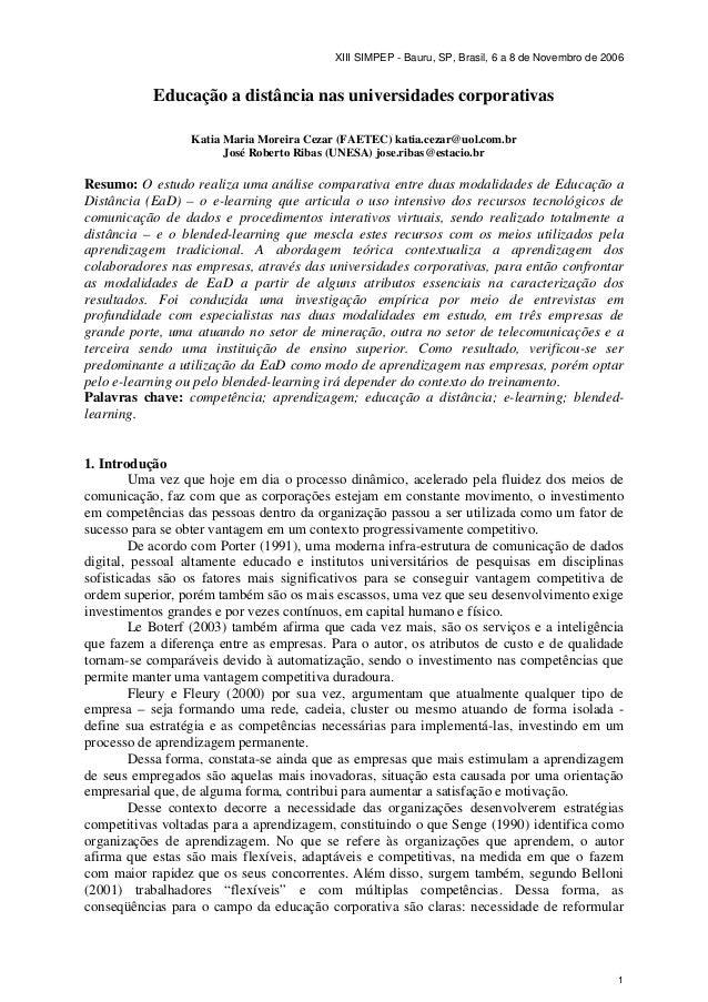 XIII SIMPEP - Bauru, SP, Brasil, 6 a 8 de Novembro de 2006           Educação a distância nas universidades corporativas  ...