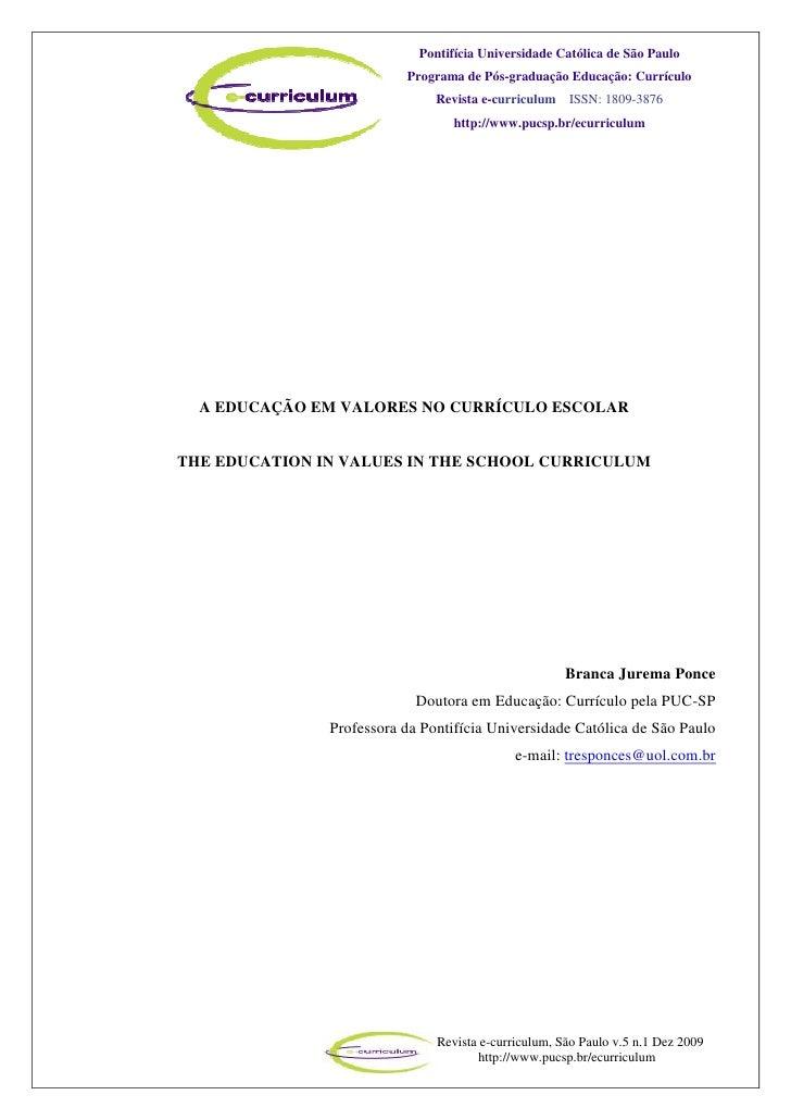 Pontifícia Universidade Católica de São Paulo                          Programa de Pós-graduação Educação: Currículo      ...
