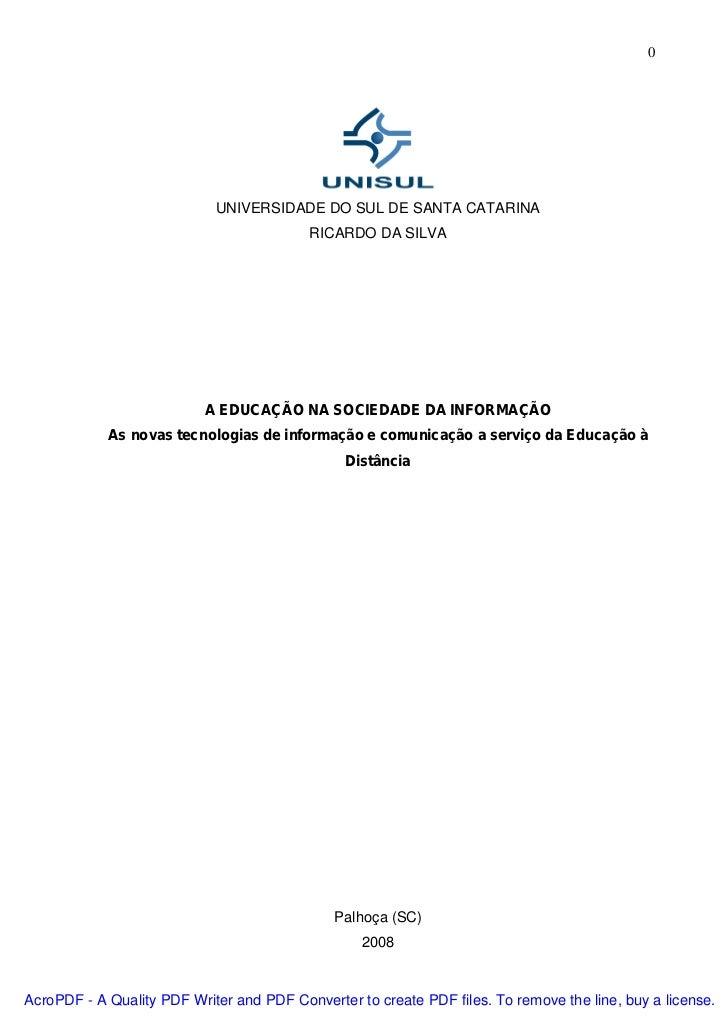 0                            UNIVERSIDADE DO SUL DE SANTA CATARINA                                          RICARDO DA SIL...