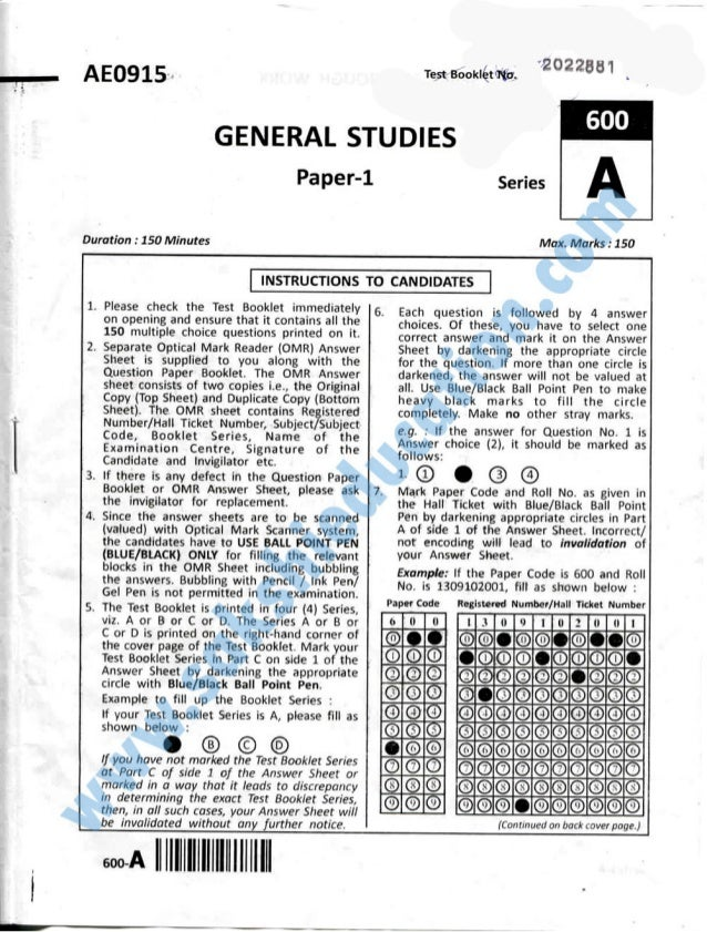 AEO915-  Test Booklétm.  #2022881 .   600  GENERAL STUDIES  Paper-1  Duration :  150 Minutes      1. Please check the Test...
