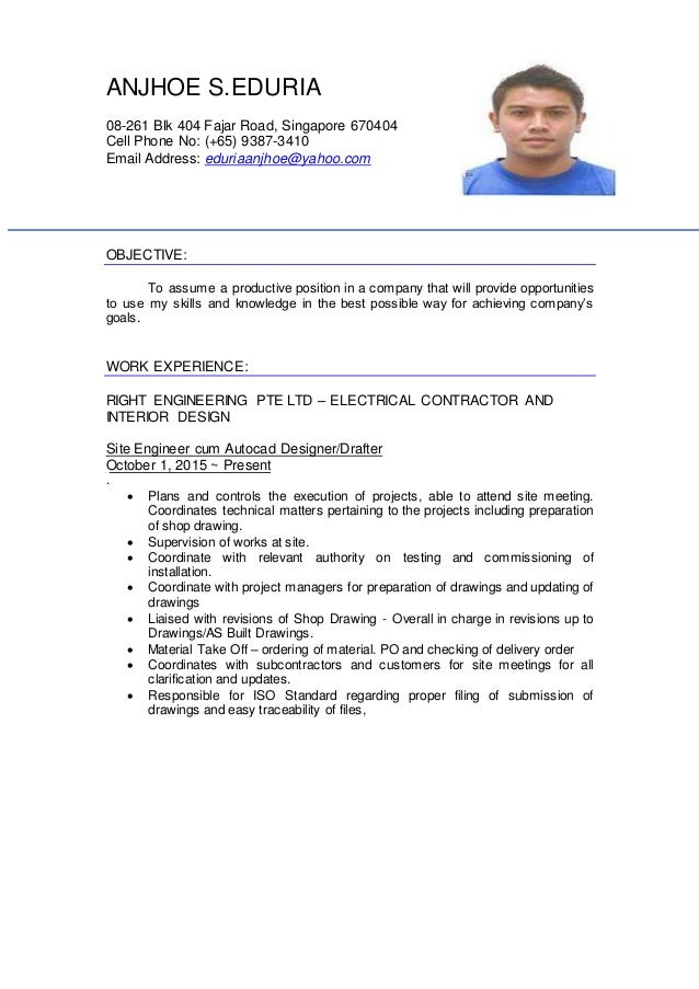 ANJHOE S.EDURIA 08-261 Blk 404 Fajar Road, Singapore 670404 Cell Phone No: (+65) 9387-3410 Email Address: eduriaanjhoe@yah...