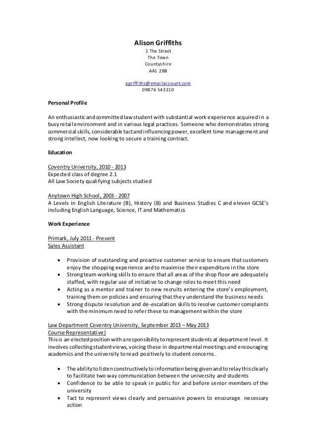 Personal statement law training contract
