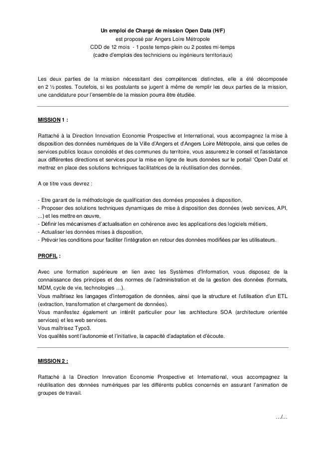 Un emploi de Chargé de mission Open Data (H/F)                                    est proposé par Angers Loire Métropole  ...
