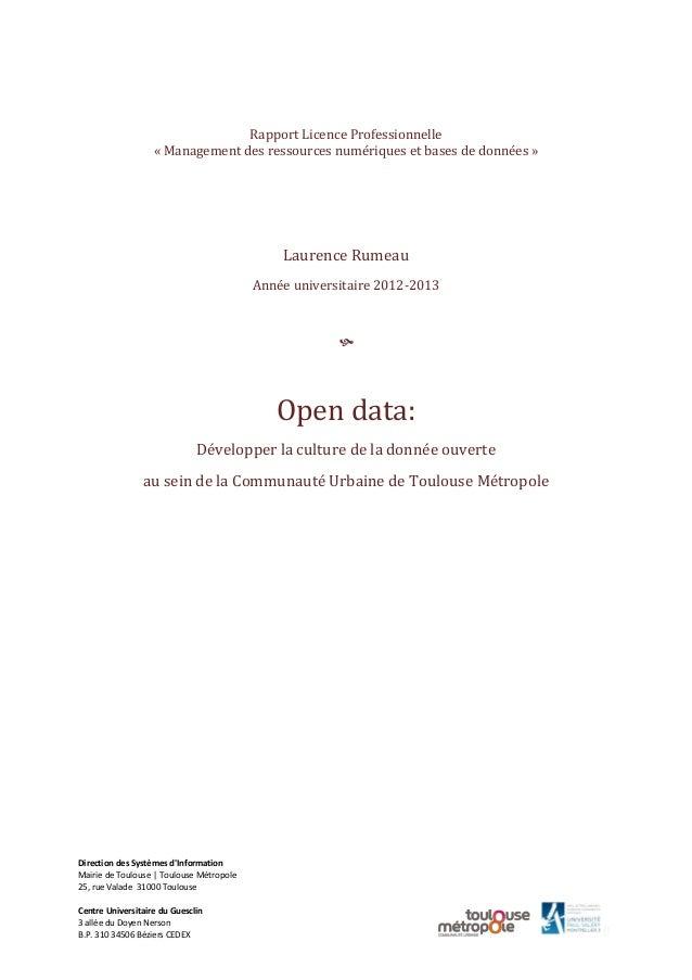 0 Rapport Licence Professionnelle « Management des ressources numériques et bases de données » Laurence Rumeau Année unive...