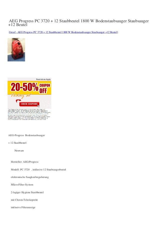AEG Progress PC 3720 + 12 Staubbeutel 1800 W Bodenstaubsauger Staubsauger+12 BeutelGreat!- AEG Progress PC 3720 + 12 Staub...