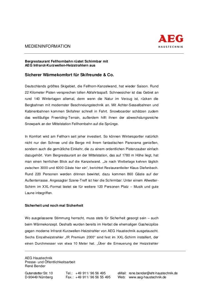 MEDIENINFORMATIONBergrestaurant Fellhornbahn rüstet Schirmbar mitAEG Infrarot-Kurzwellen-Heizstrahlern ausSicherer Wärmeko...