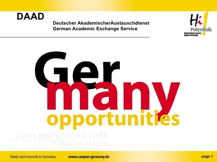 DAAD  Deutscher AkademischerAustauschdienst German Academic Exchange Service