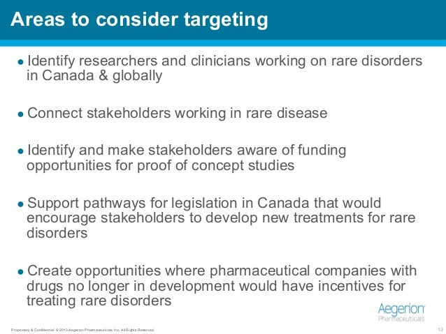 Proprietary & Confidential. © 2013 Aegerion Pharmaceuticals, Inc. All Rights Reserved. 13 Areas to consider targeting ●Id...