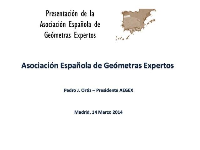 Asociación Española de Geómetras Expertos Pedro J. Ortiz – Presidente AEGEX Madrid, 14 Marzo 2014