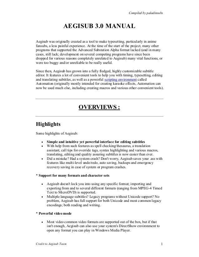 Aegisub 3 0 manual
