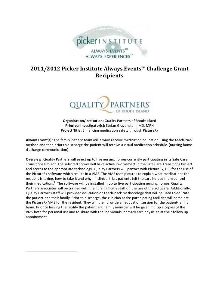 2011/2012 Picker Institute Always Events™ Challenge Grant                         Recipients                       Organiz...