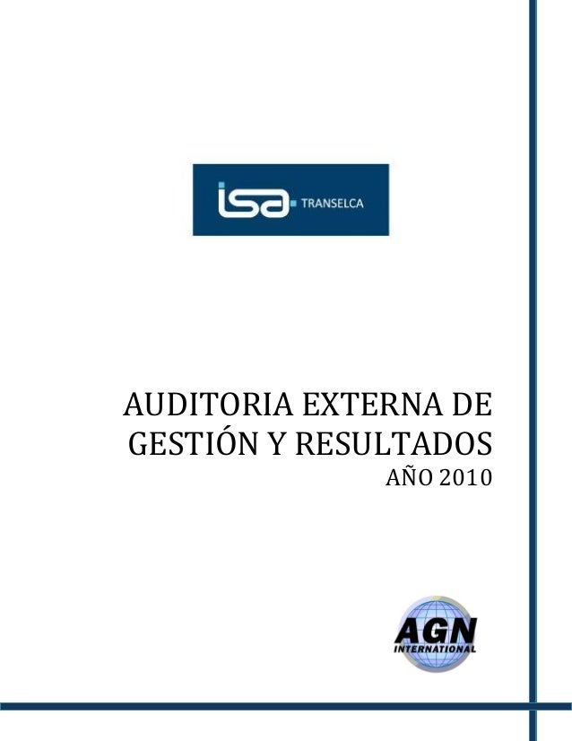 AUDITORIA EXTERNA DE GESTIÓN Y RESULTADOS AÑO 2010