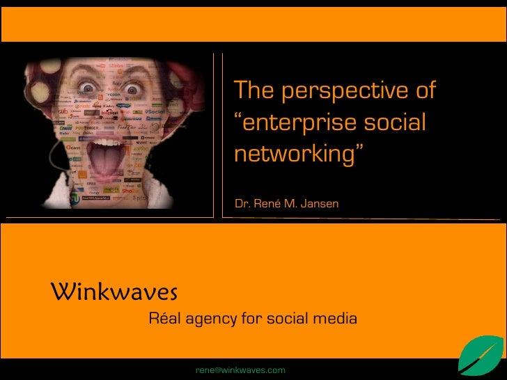 """The perspective of                    """"enterprise social                    networking""""                    Dr. René M. Jan..."""