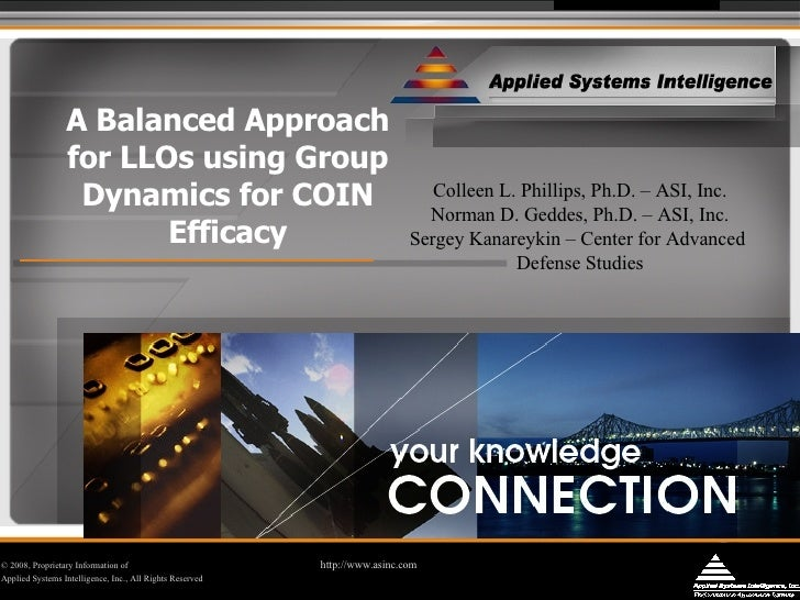 A Balanced Approach for LLOs using Group Dynamics for COIN Efficacy © 2008, Proprietary Information of  http://www.asinc.c...