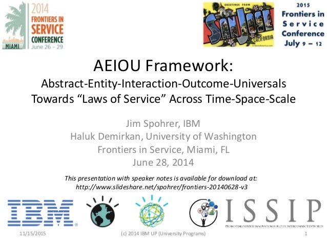 """AEIOU Framework: Abstract-Entity-Interaction-Outcome-Universals Towards """"Laws of Service"""" Across Time-Space-Scale Jim Spoh..."""