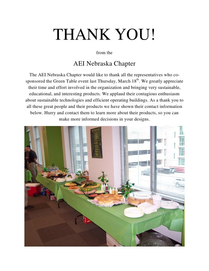THANK YOU!                                      from the                           AEI Nebraska Chapter    The AEI Nebrask...