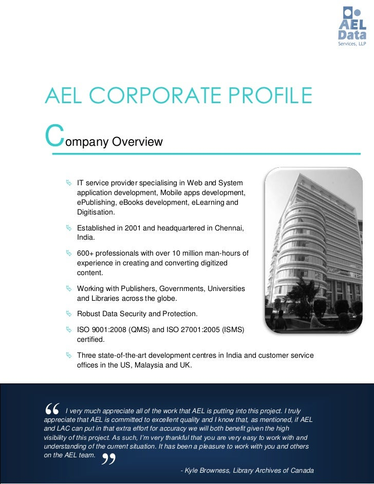 AEL CORPORATE PROFIL ECompany Overview        IT service provider specialising in Web and System         application deve...