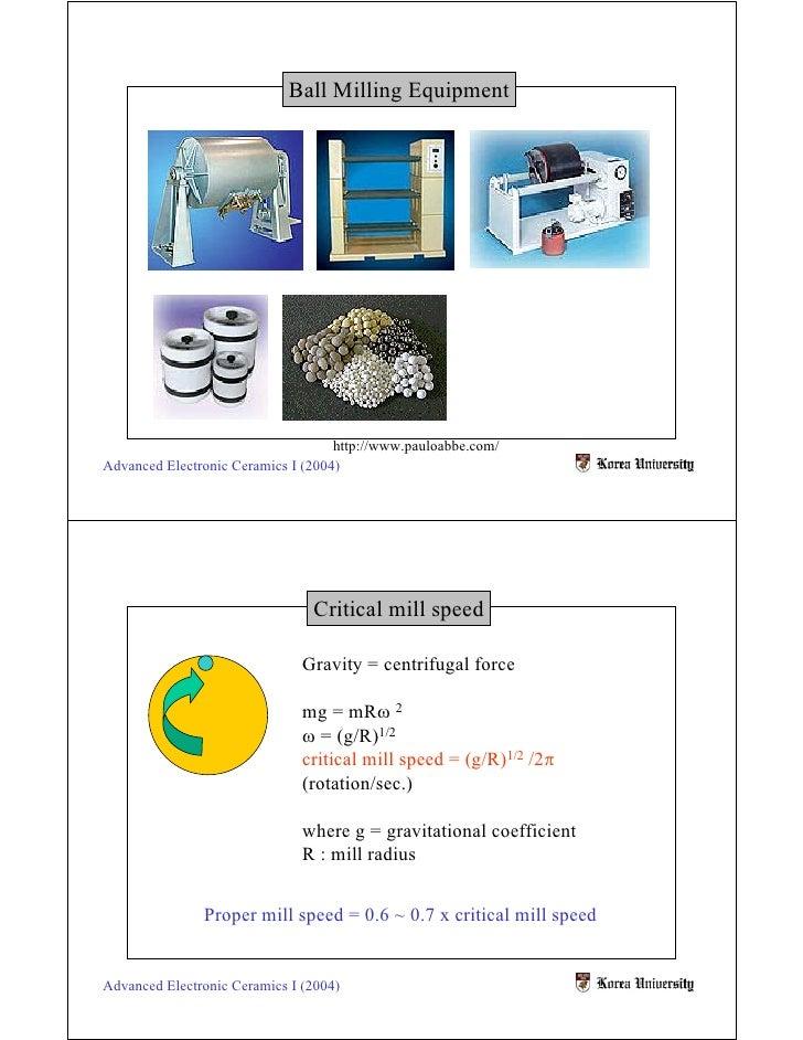 Ball Milling Equipment                                         http://www.pauloabbe.com/ Advanced Electronic Ceramics I (2...