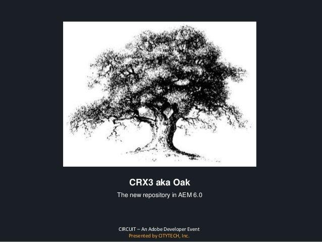 CIRCUIT – An Adobe Developer Event Presented by CITYTECH, Inc. CRX3 aka Oak The new repository in AEM 6.0