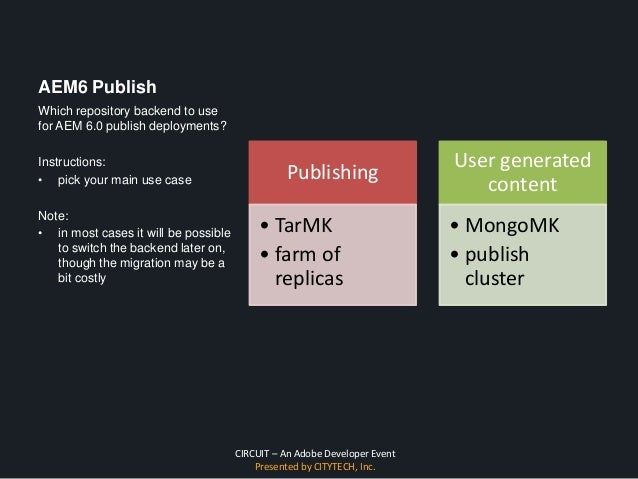 CIRCUIT – An Adobe Developer Event Presented by CITYTECH, Inc. AEM6 Publish Publishing • TarMK • farm of replicas User gen...