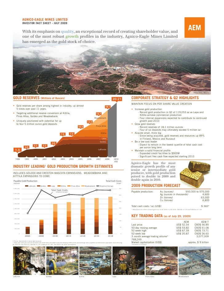 AGNICO-EAGLE MINES LIMITED                INVESTOR FACT SHEET - JULY 2009                 With its emphasis on quality, an...