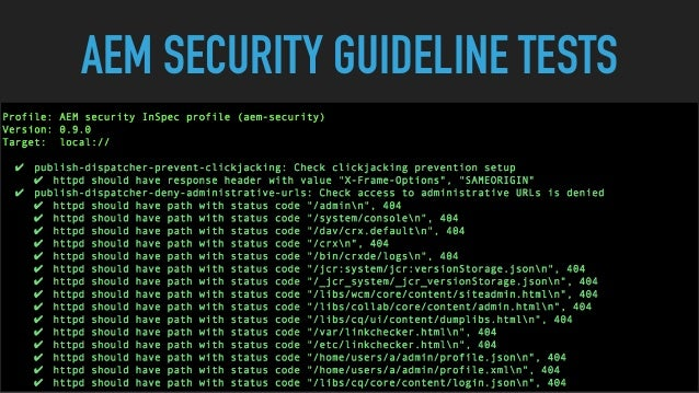 AEM SECURITY GUIDELINE TESTS